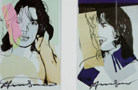 After ANDY WARHOL (American, 1928-1987) Mick Jagger (pair), 1975 Color offset lithographs 6 x 4 i