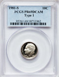 Proof Roosevelt Dimes: , 1981-S 10C Type One PR69 Deep Cameo PCGS. PCGS Population(6065/205). Numismedia Wsl. Price for problem...