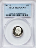 Proof Roosevelt Dimes, 2011-S 10C Clad PR69 Deep Cameo PCGS. PCGS Population (413/245).The image displayed is a stock photo ...