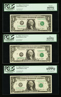 Error Notes:Error Group Lots, Fr. 1908-K $1 1974 Federal Reserve Notes. Two Examples. PCGS New61PPQ-Gem New 66PPQ; Fr. 1909-K $1 1977 Federal Reserve Notes...(Total: 5 notes)
