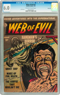 Golden Age (1938-1955):Horror, Web of Evil #2 River City pedigree (Quality, 1952) CGC FN 6.0Off-white to white pages....