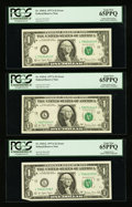 Error Notes:Error Group Lots, Fr. 1910-L $1 1977A Federal Reserve Notes. Four Examples. PCGS GemNew 65PPQ.. ... (Total: 4 notes)