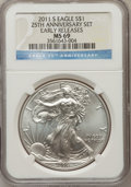 Modern Bullion Coins, 2011-S $1 Silver Eagle, 25th Anniversary Early Releases MS69 NGC.NGC Census: (0/0). PCGS Population (3231/3959). (#50918...