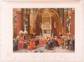 """Books:Prints & Leaves, Lot of Five Exceptional Chromolithograph Illustrations DepictingPapal Themes. 16.5"""" x 12"""", extracted from Actes et Histoi..."""