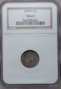 Seated Dimes, 1890-S 10C MS63 NGC. Large S over Small S. AH-3, R-7. NGC Census:(14/44). PCGS Population (15/27). Mintage: 1,423,076. Num...