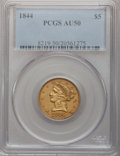 Liberty Half Eagles, 1844 $5 AU50 PCGS. PCGS Population (23/87). NGC Census: (21/221).Mintage: 340,330. Numismedia Wsl. Price for problem free ...