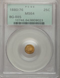California Fractional Gold: , 1880/76 25C Indian Round 25 Cents, BG-885, R.3, MS64 PCGS. PCGSPopulation (63/19). NGC Census: (9/0). (#10746)...