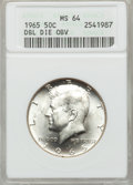 Kennedy Half Dollars, 1965 50C Double Die Obverse MS64 ANACS. NGC Census: (84/142). PCGSPopulation (141/334). Mintage: 65,879,368. Numismedia Wsl...