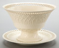 Ceramics & Porcelain, British:Modern  (1900 1949)  , A WEDGWOOD CREAMWARE CENTER BOWL AND UNDERPLATE . Circa 1900 .Marks: WEDGWOOD, MADE IN ENGLAND, 3QY. 9-1/2 inches diame...(Total: 2 Items)