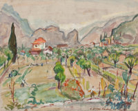 ACHILLE EMILE OTHON FRIESZ (French, 1879-1949) Valley of the Meuse, 1925 Watercolor on paper 12-1