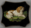 Decorative Arts, Continental:Other , AN ITALIAN MICROMOSAIC PLAQUE: SPANIEL . Circa 1850-1880.1-1/8 x 1-1/2 inches (2.9 x 3.8 cm). ...