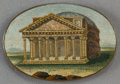 Decorative Arts, Continental:Other , AN ITALIAN MICROMOSAIC PLAQUE: THE PANTHEON . Circa1850-1880. 1-1/4 x 1-3/4 inches (3.2 x 4.4 cm). ...