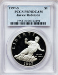 Modern Issues: , 1997-S $1 Jackie Robinson Silver Dollar PR70 Deep Cameo PCGS. PCGSPopulation (86). NGC Census: (40). Mintage: 110,495. Num...