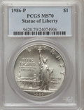 1986-P $1 Statue of Liberty Silver Dollar MS70 PCGS. PCGS Population (140). NGC Census: (177). Mintage: 723,635. Numisme...
