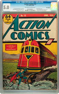 Action Comics #13 Billy Wright pedigree (DC, 1939) CGC VG/FN 5.0 Off-white to white pages