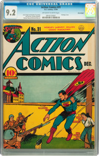 Action Comics #31 Billy Wright pedigree (DC, 1940) CGC NM- 9.2 Off-white to white pages