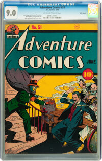 Adventure Comics #51 Billy Wright pedigree (DC, 1940) CGC VF/NM 9.0 Off-white to white pages