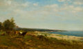 Sculpture, JAMES MCDOUGAL HART (American, 1828-1901). Cattle Along the Waterside. Oil on canvas laid on board. 14 x 23 inches (35.6...