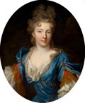 Fine Art - Painting, European:Other , Attributed to PIERRE GOBERT (French, 1659-1741). Françoise-Mariede Bourbon, Duchesse d'Orléans (daughter of Gaston d'Orlé...