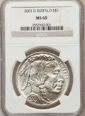 Modern Issues: , 2001-D $1 Buffalo Silver Dollar MS69 NGC. NGC Census: (11328/1673).PCGS Population (13851/823). Numismedia Wsl. Price for...