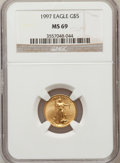 Modern Bullion Coins: , 1997 G$5 Tenth-Ounce Gold Eagle MS69 NGC. NGC Census: (2295/659).PCGS Population (1323/113). Mintage: 528,515. Numismedia ...