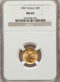 Modern Bullion Coins: , 1987 G$5 Tenth-Ounce Gold Eagle MS69 NGC. NGC Census: (2159/105).PCGS Population (1156/6). Mintage: 580,226. Numismedia Ws...