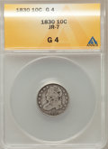 Bust Dimes, 1830 10C Medium 10C Good 4 ANACS. JR 7. NGC Census: (5/170). PCGS Population (4/216). Mintage: 510,000. Numismedia Wsl. Pri...
