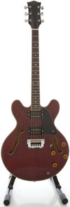 Musical Instruments:Electric Guitars, Circa 1980's Harmony HEA200 Wine Red Semi-Hollow Body Electric Guitar...