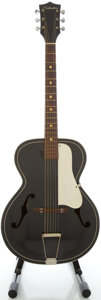 Musical Instruments:Acoustic Guitars, 1960's Silvertone Black Archtop Acoustic Guitar...