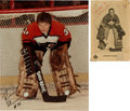 Hockey Collectibles:Photos, Circa 1971 Jacques Plante and Circa 1984 Pelle Lindbergh SignedPhotographs Lot of 2....