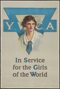 "Movie Posters:War, World War I (Y.W.C.A., 1919). Propaganda Poster (19.75"" X 29.5"").""Y.W.C.A. In Service for the Girls of the World."" War.. ..."