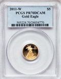 Modern Bullion Coins, 2011-W $5 Tenth-Ounce Gold Eagle PR70 Deep Cameo PCGS. PCGS Population (122). NGC Census: (0). (#505224)...