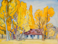 Fine Art - Painting, American, DORR BOTHWELL (American, 1902-2002). The Ranch House,Nevada. Watercolor on paper. 11-3/4 x 15-1/2 inches (29.8 x39.4 c...