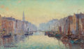 Fine Art - Painting, American:Modern  (1900 1949)  , COLIN CAMPBELL COOPER (American, 1856-1937). A Canal inRotterdam, circa 1910-1915. Oil on board. 11 x 19 inches (27.9x...