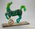 Art Glass:Daum, A REPAIRED DAUM PATE-DE-CRISTAL AND BRONZE SCULPTURE DESIGNED BYSALVADOR DALI (SPANISH, 1904-1989): VELOCIPIDE HORSE ...