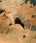 Fine Art - Painting, European:Antique  (Pre 1900), LUC OLIVIER MERSON (French, 1846-1920). An Ethereal Beauty withPutti in the Clouds, 1885. Oil on panel. 24-1/2 x 20 inc...