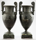 Bronze:European, A PAIR OF NEOCLASSICAL STYLE BRONZED METAL URNS ON MARBLE BASES .Circa 1900 . 18 inches high (45.7 cm). ... (Total: 2 Items)