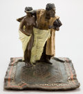 Bronze:European, A VIENNESE EROTIC COLD-PAINTED BRONZE FIGURAL GROUP BY FRANZ XAVIERBERGMAN (AUSTRIAN, 1861-1936): SLAVE GIRL AT AUCTION...