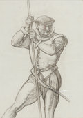 Fine Art - Work on Paper:Drawing, DEAN CORNWELL (American, 1892-1960). Man with Rope. Charcoalpencil on paper . 14 x 10 inches (35.6 x 25.4 cm). Artist's...