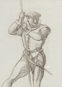 DEAN CORNWELL (American, 1892-1960) Man with Rope Charcoal pencil on paper 14 x 10 inches (35.6
