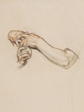 Fine Art - Work on Paper:Drawing, DEAN CORNWELL (American, 1892-1960). Sketch of ClaspedHands. Pastel and charcoal on paper . 17 x 12 inches (43.2 x30.5...