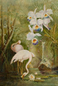 Fine Art - Painting, American:Modern  (1900 1949)  , AMERICAN SCHOOL (20th Century). Two Flamingos with LilyPads. Oil on canvas . 24-1/2 x 17 inches (62.2 x 43.2 cm).Signe...