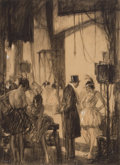Fine Art - Painting, American:Modern  (1900 1949)  , HAROLD JAMES MOWAT (American, 1879-1949). Backstage, SaturdayEvening Post illustration . Charcoal on board. 13 x 11 inc...