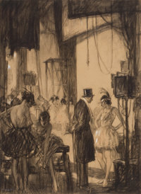 HAROLD JAMES MOWAT (American, 1879-1949) Backstage, Saturday Evening Post illustration Charcoal on