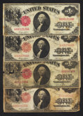 Four Fr. 36 $1 1917 Legal Tender Notes Very Good or better