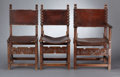 Furniture : English, EIGHT VICTORIAN OAK SIDE CHAIRS AND ONE ARM CHAIR . Circa 1890-1900. 39-1/2 x 23-3/4 x 22-1/2 inches (100.3 x 60.3 x 57.2 cm... (Total: 8 Items)