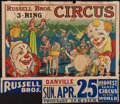 """Movie Posters:Miscellaneous, Circus Poster (Russell Brothers, 1937). Poster (28"""" X 42"""") With Attached Date and Place Snipe (9.5"""" X 42""""). Miscellaneous.. ..."""