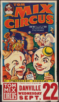 """Movie Posters:Western, Tom Mix Circus Poster (Tom Mix Circus, 1937). Poster (28"""" X 42"""") With Date and Place Snipe (9.5"""" X 28""""). Circus.. ..."""