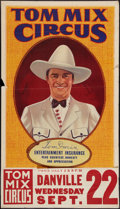 "Movie Posters:Western, Tom Mix Circus Poster (Tom Mix Circus, 1937). Poster (28"" X 42"")With Date and Place Snipe (9.5"" X 28""). Circus.. ..."