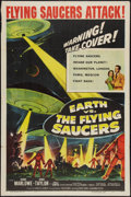 "Movie Posters:Science Fiction, Earth vs. the Flying Saucers (Columbia, 1956). One Sheet (27"" X 41""). Science Fiction.. ..."